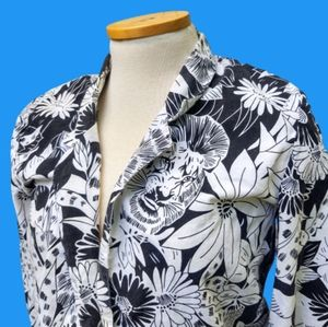 *AS IS* 80s Lion Floral Black and White Blazer